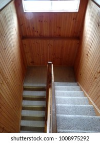 Carpeted staircase and void hallway with wooden plank walls