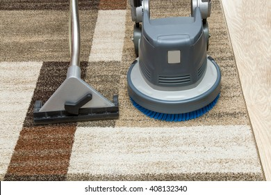 Carpets chemical cleaning with professionally extraction method and disk machine. Early spring cleaning or regular clean up.