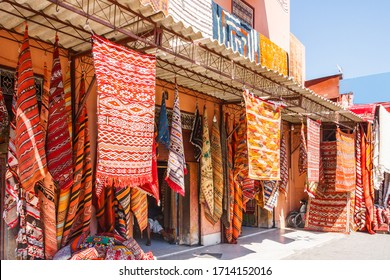 Carpets hanging outside a shop in Marrakesh, Morocco