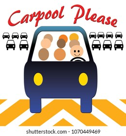carpool passengers in transit poster colorful illustration