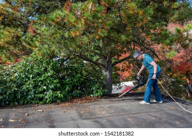 Carport roof, mature woman with leaf blower cleaning roof and downspout, fall cleanup