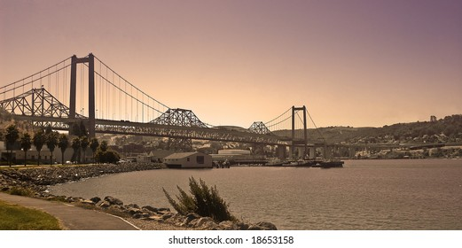 Carquinez Bridge at Twilight from Vallejo
