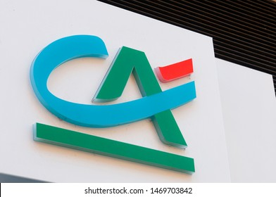 Carrara, Italy - August 4, 2019 - The logo of the French bank Crédit Agricole, who recently bought some Italian banks