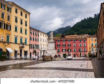 Carrara, Italy: June 2017, Square Alberica, one Sunday morning after a shower