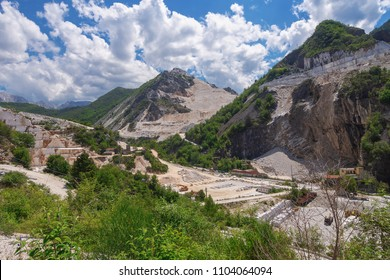CARRARA, ITALY - May 20, 2108: The marble quarries in the Apuan Alps near Carrara, Massa Carrara region of Italy.