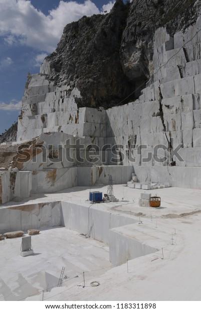 Carrara Marble Quarries Apennine Mountains Italy Stock Photo
