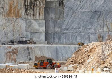 Carrara marble quarry above the village of Bedizzano, Tuscany, Italy