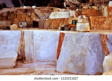 Carrara marble quarry,  extraction and processing of white marble