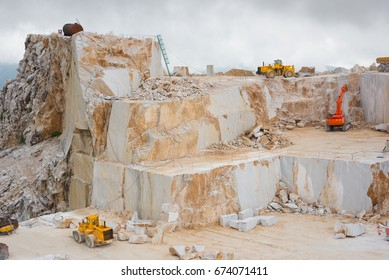Carrara marble quarry, Italy, with machinery at work