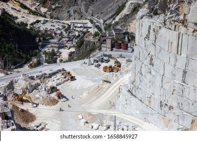 Carrara, Massa-Carrara/Italy - May 21 2016: Carrara marble quarries, view of the Miseglia marble basin