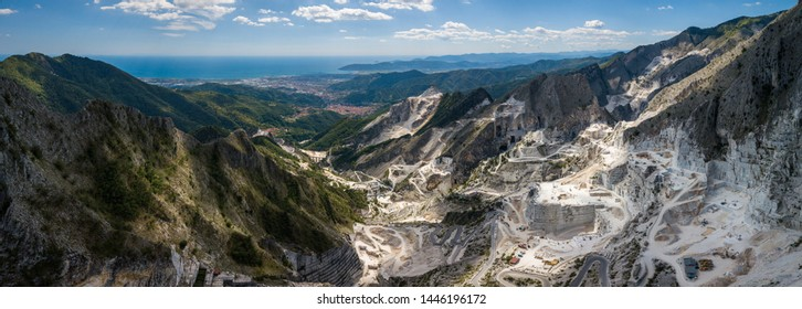 Carrara mountains. quarry - the place where Michealangelo sourced the marble for David,  Massa-Carrara Tuscany Italy - high resolution panoramic image