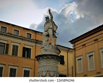 Carrara, Tuscany, Italy - 9 June, 2018: Marble statue of Giuseppe Garibaldi, an Italian national hero involved in the Italian unification in the 1800s