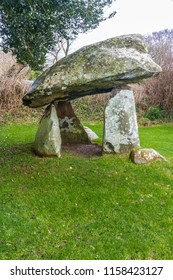 Carreg Coetan Arthur Neolithic Tomb with large capstone. Newport, Pembrokeshire, Wales, UK, with copyspace