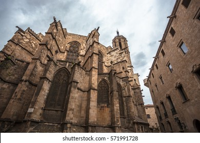 The Carrer del Bisbe street of the gothic quarter (barri gotic) of Barcelona