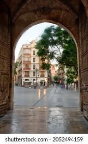 Carrer dels Serrans viewed through gate of torres de Serranos in Valencia, Spain