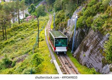Carriage of the Funicular Railway in Bergen, Norway, climbing Mount Floyen.