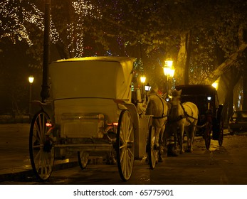 Carriage with horses on night street Christmass