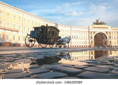 Carriage on Palace Square in St. Petersburg