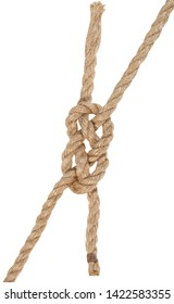 carrick bend knot joining two ropes isolated on white background