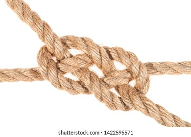 carrick bend knot joining two ropes close up isolated on white background