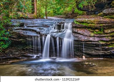 Carrick Creek Falls Waterfall in Table Rock State Park near Greenville South Carolina SC.