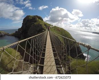 Carrick a rede rope bridge in North Antrim, Northen Ireland on June 15,2017