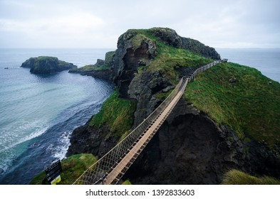 Carrick-a-Rede Rope Bridge near Ballintoy in County Antrim, Northern Ireland