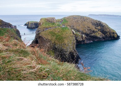 Carrick-a-Rede Rope Bridge, near Ballintoy in County Antrim, Northern Ireland, believed to been built by salmon fishermen to the island for over 350 years