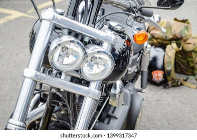 Carrickfergus, County Antrim – April 17 2011: An illustrative editorial image depicting the light stack on a highly polished, chrome plated, Harley-Davidson motorcycle.