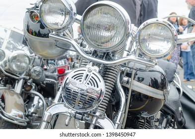 Carrickfergus, County Antrim / United Kingdom - April 17 2011: Quay Viper's Ride-Out; Harley Davidson light stack and handle bars