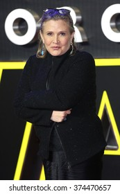 """Carrie Fisher at the European premiere of """"Star Wars: The Force Awakens"""" in Leicester Square, London.  December 16, 2015  London, UK Picture: James Smith / Featureflash"""