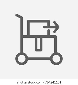 Carried cargo icon line style. Isolated symbol on logistics carried cargo topic with delivery export, cargo carry and direction meaning  illustration.