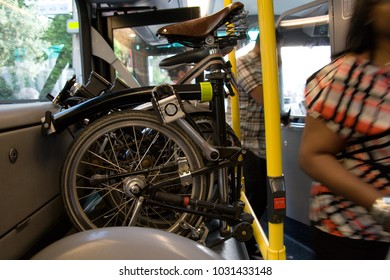 Carries Folding bicycles on a Public Bus, UK Public Transport Scheme. Folding bikes are officially allowed being carried on Public Bus in the UK.