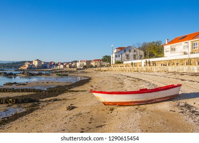 Carril fishing village with its famous clam aquaculture parks on Compostela beach