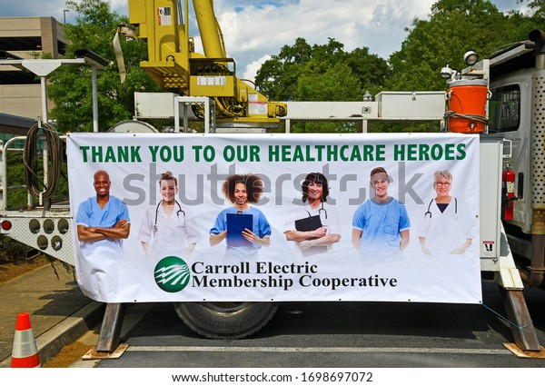 Carrollton, GA / USA - April 6, 2020: Thank You to Our Healthcare Heroes Sign in Front of Tanner Medical Center Honoring Healthcare Heroes who Work Everyday During the COVID-19 Pandemic
