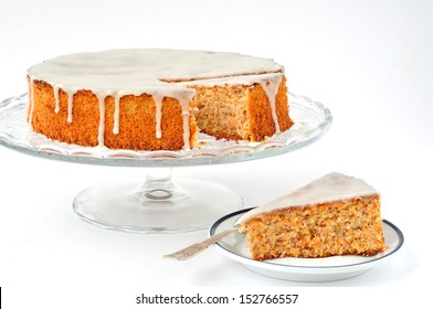 Carrot and Almond Cake, traditional Italian carrot and almond cake (torta di carote) topped with sugar glaze