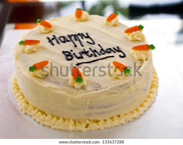Groovy Carrot Cake Birthday Cake Decorated Chocolate Stock Photo Edit Personalised Birthday Cards Bromeletsinfo