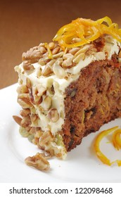 Carrot Cake served on white plate