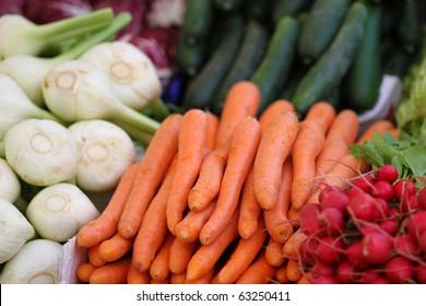carrot, celery and radish at the farmer's market
