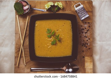 Carrot and Coriander soup presentation