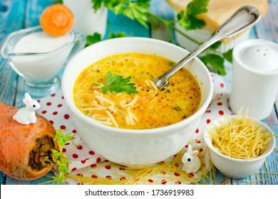 Carrot cream soup with noodles
