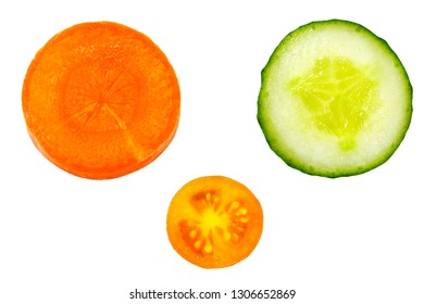 Carrot, cucumber and tomato isolated on white background. Round shape vegetables