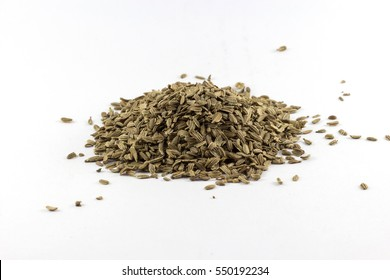 Carrot seed on white background