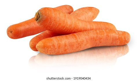 carrot shadow mirror reflection isolated on white background with clipping path
