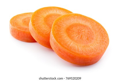 Carrot slice. Carrots. Perfectly retouched carrot slices isolated on white. Full depth of field.
