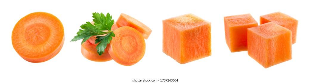 Carrot slice. Carrot isolate. Carrots on white background. Carrot slice, cubes.