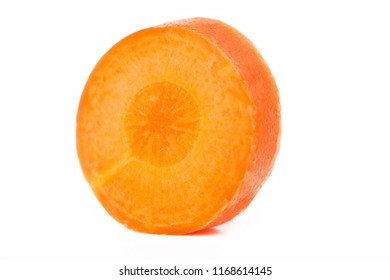 Carrot slice. Carrot isolated on white. Full depth of field. With clipping path.