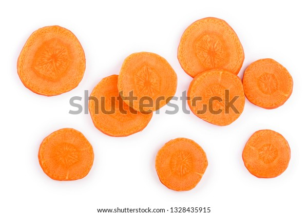 Carrot slice isolated on white background. Top view. Flat lay