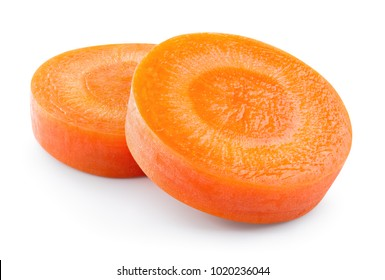 Carrot slice. Carrot slices isolated on white. Full depth of field. With clipping path