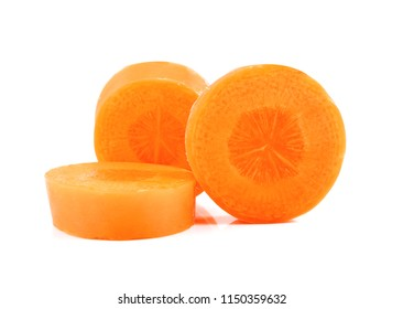 carrot slices isolated on white.